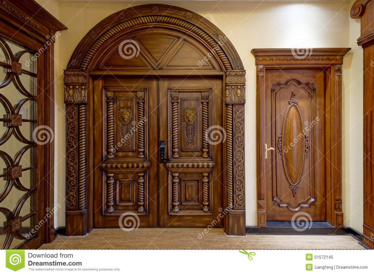 Modern family illuminative beautiful wooden door.