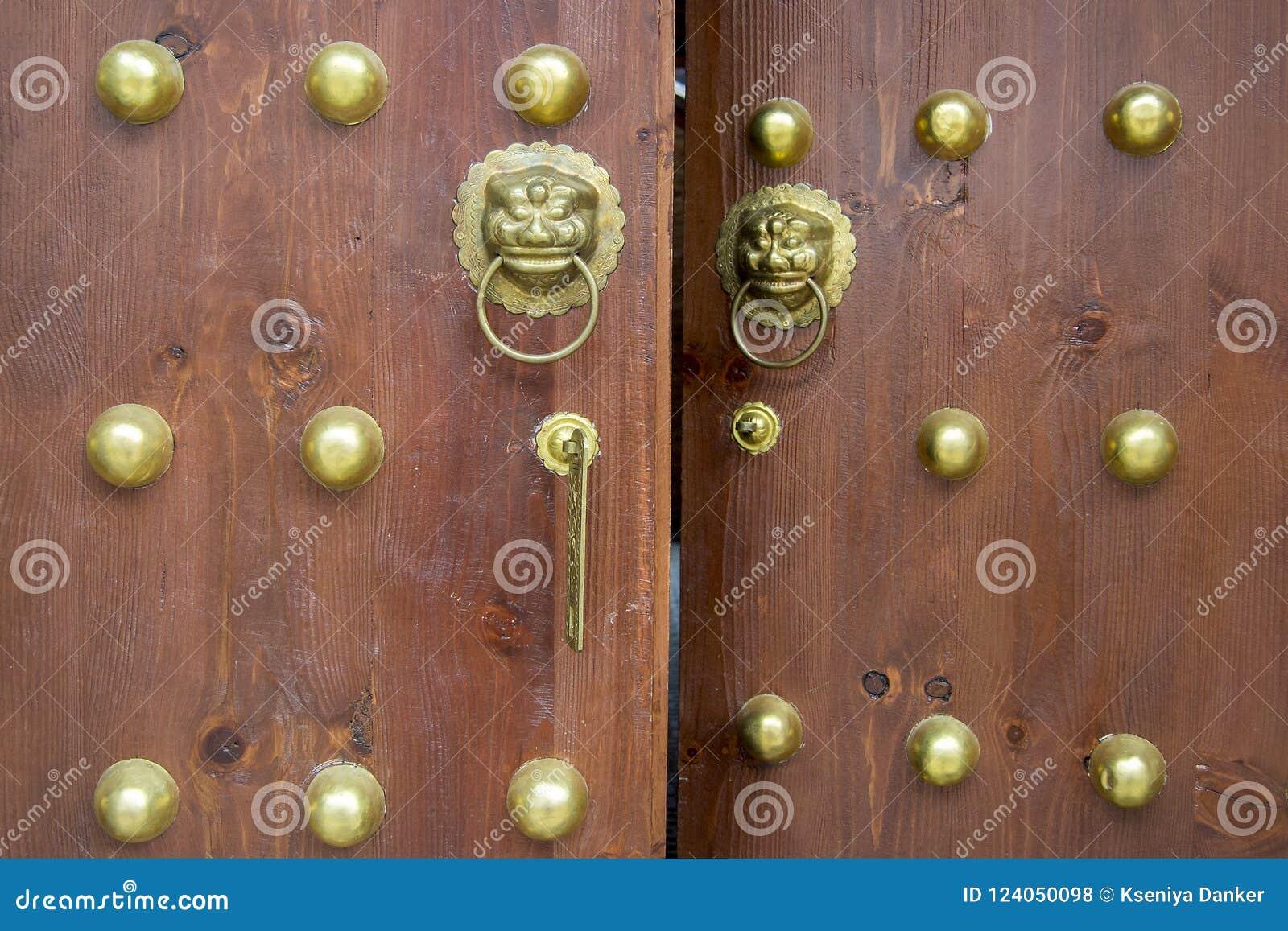 Wooden door in oriental style