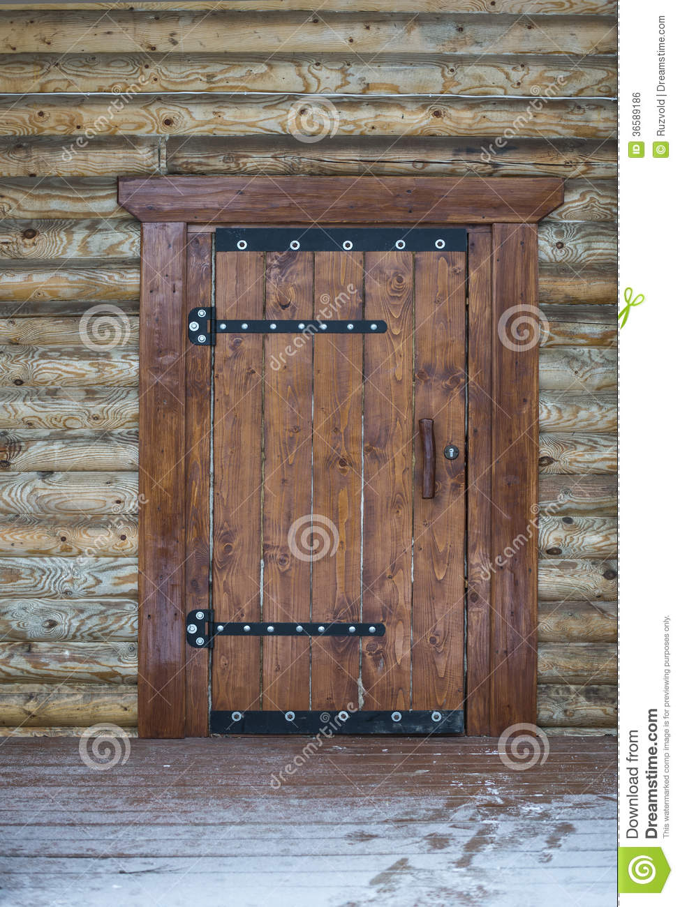 Wooden Door Of Traditional Beam Country House Stock