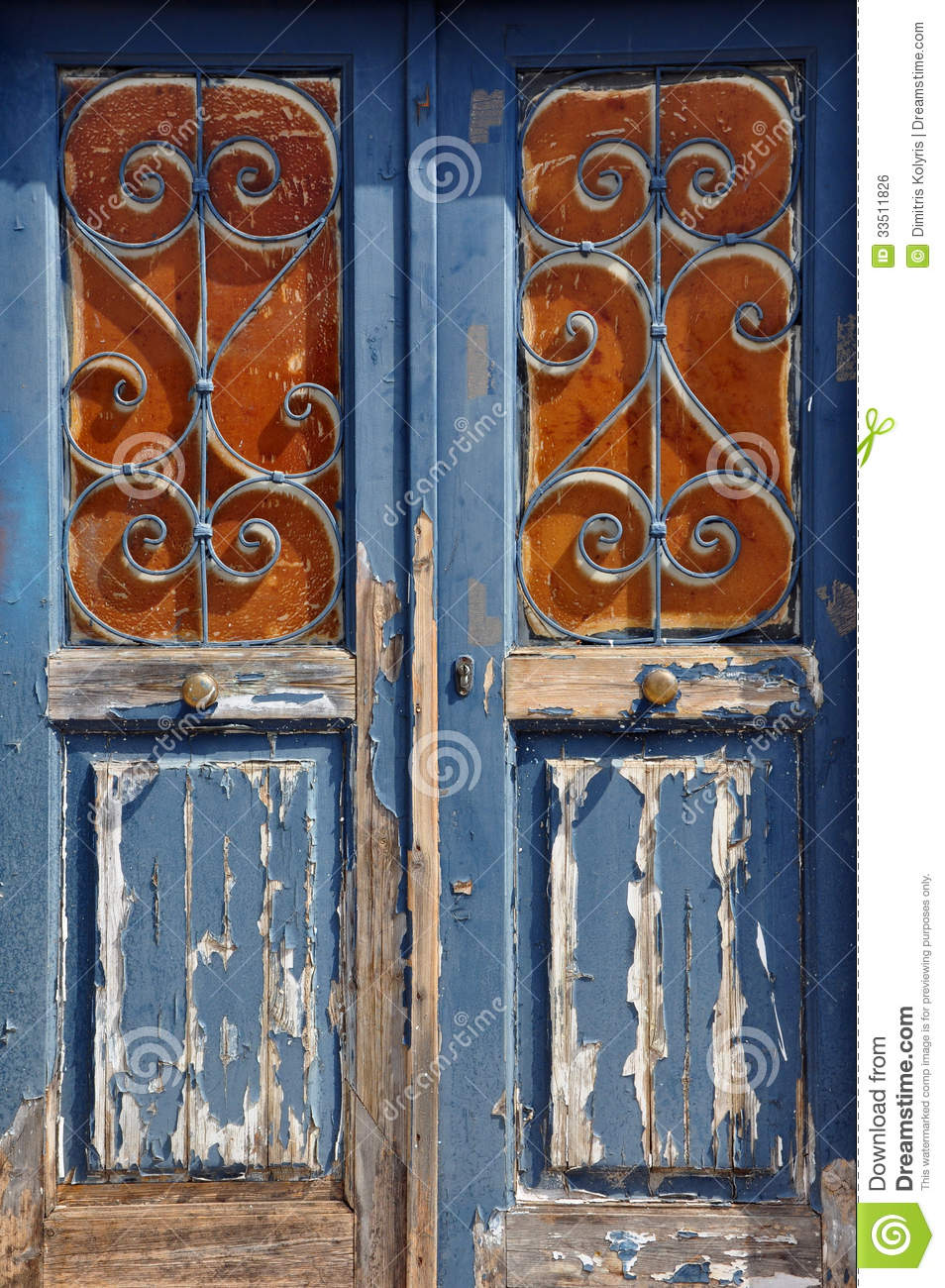 Wooden Door Vintage Metal Frame Stock Photo Image Of Ironwork