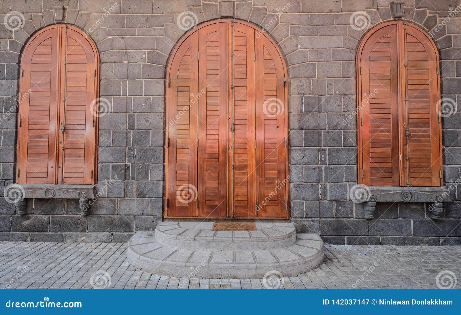 Wooden doors of ancient fortress