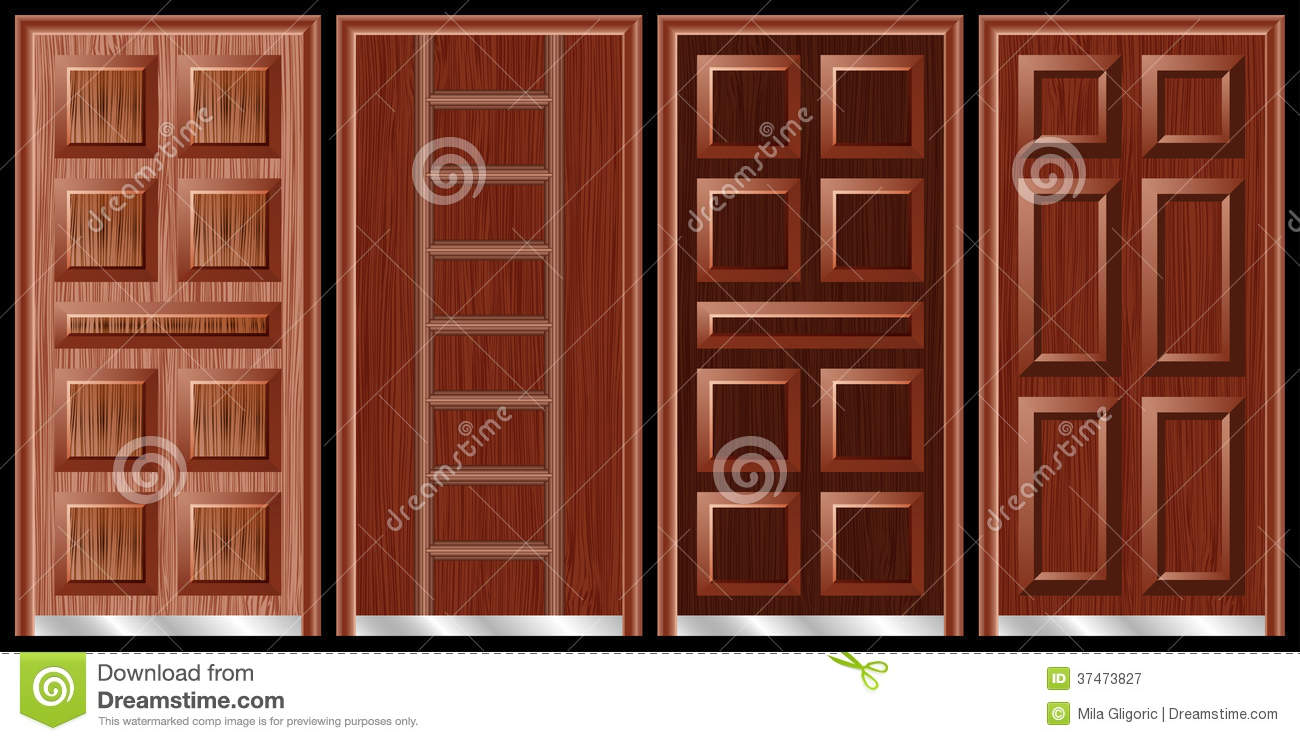 Wooden doors black royalty free stock photography image for Different door designs