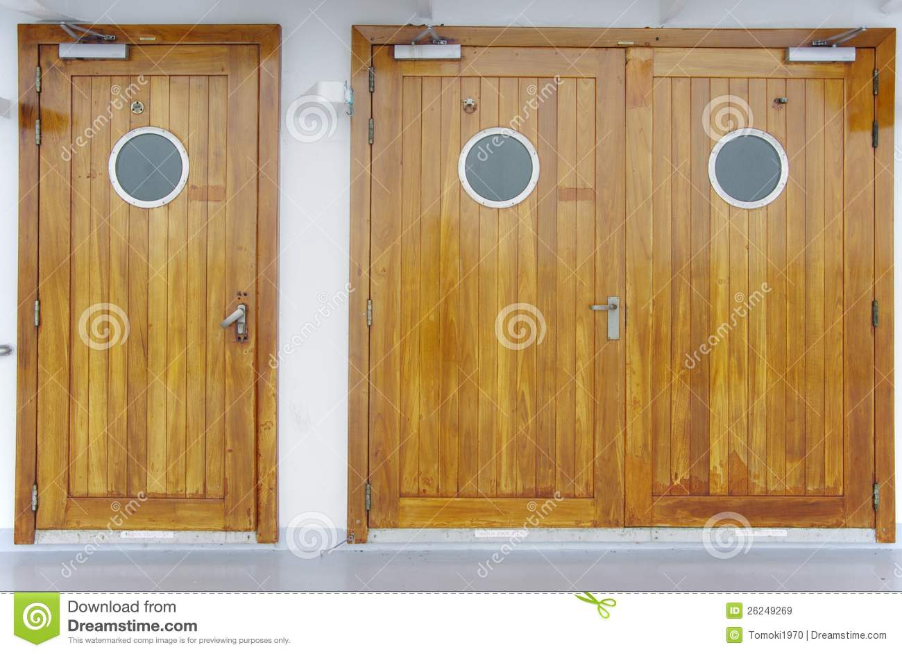 Wooden Doors With A Circle Window Stock Image - Image of ...
