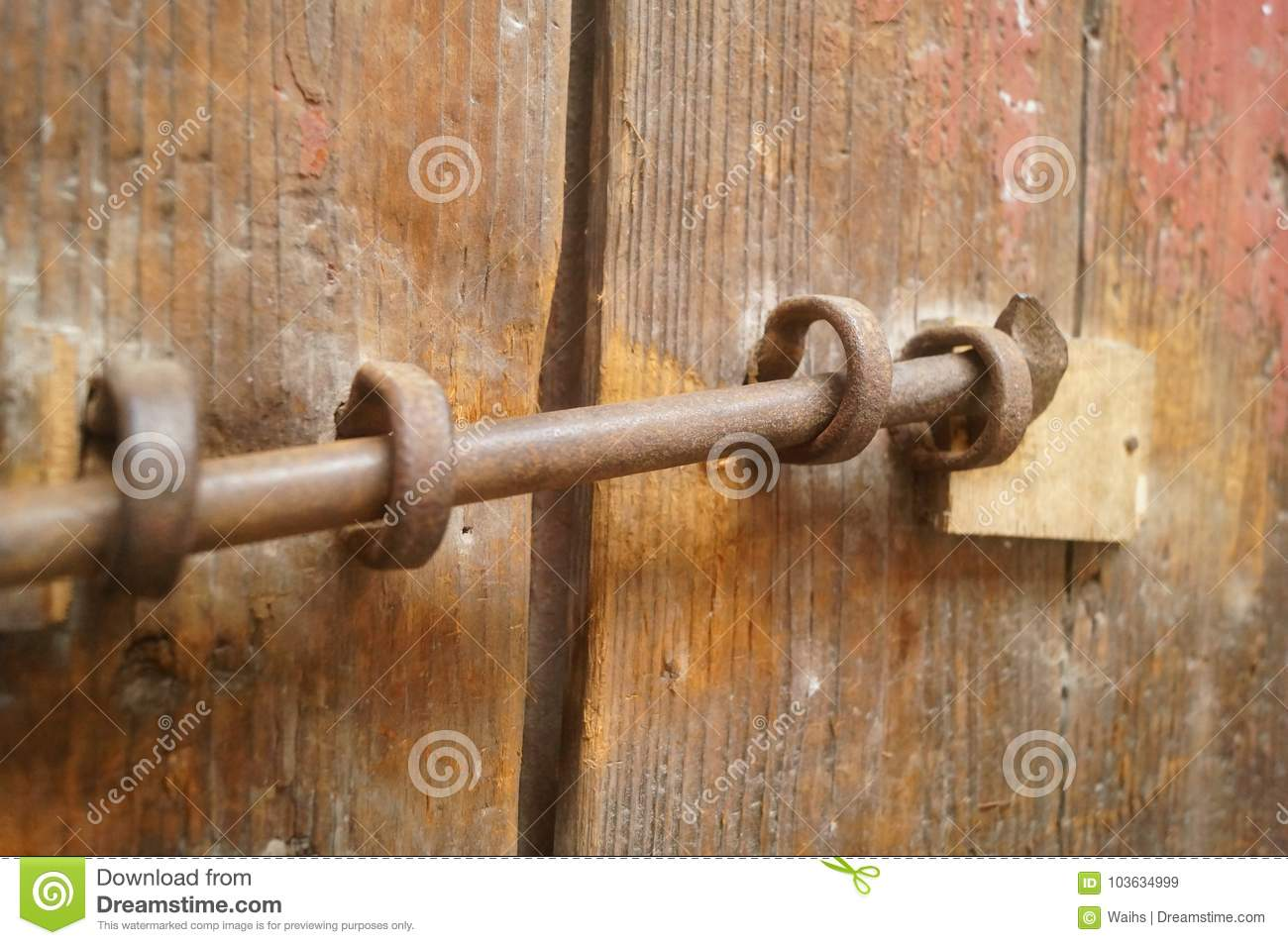 wooden doors and locks in an old house stock image image of