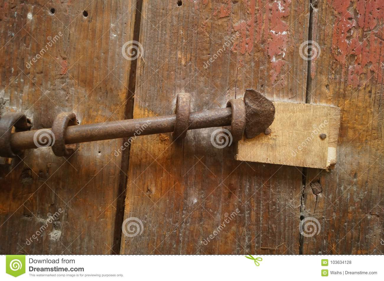Wooden Doors And Locks In An Old House Stock Photo - Image