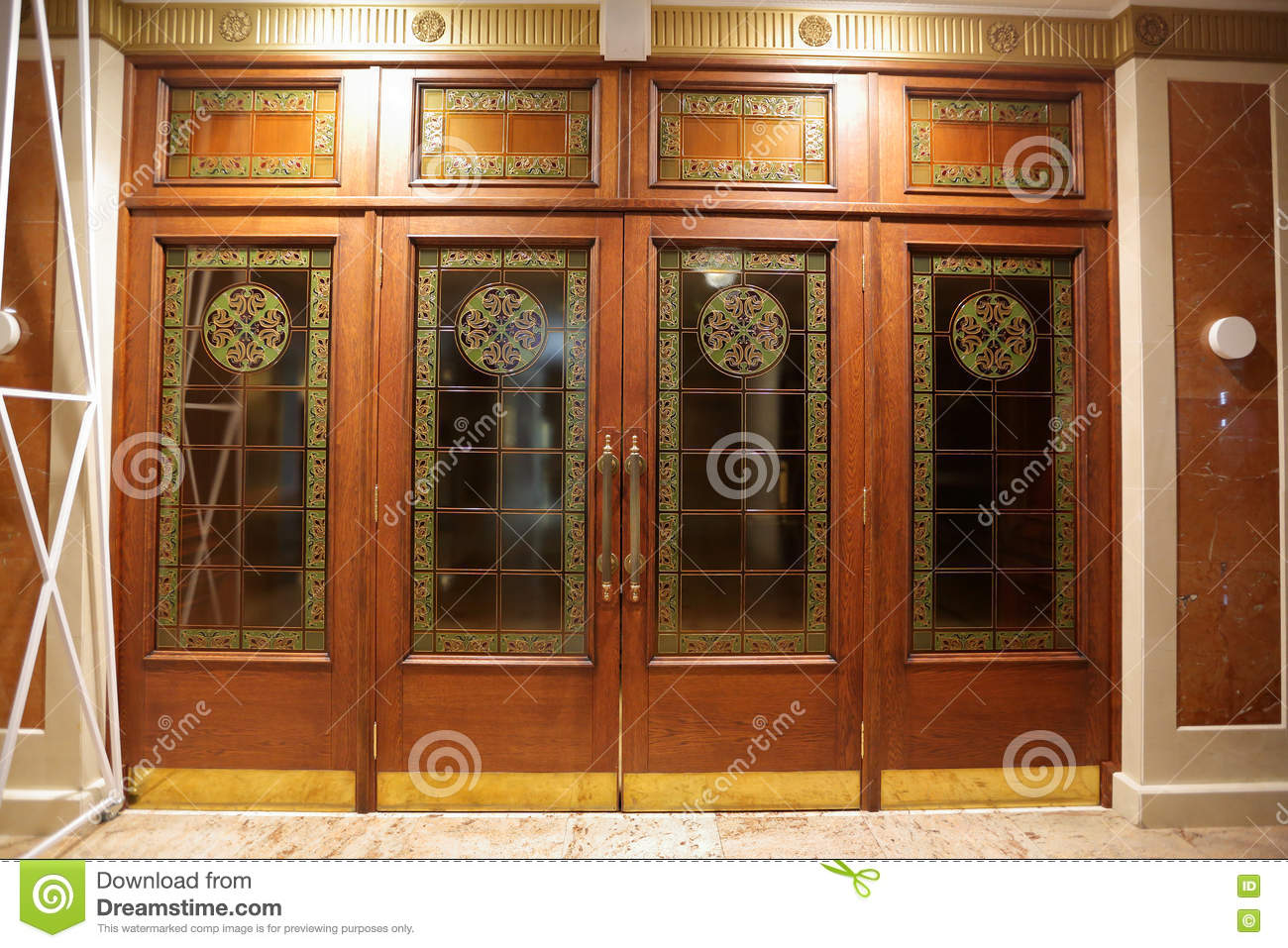 Wooden Doors With Stained Glass Stock Photo Image Of Glass Matte