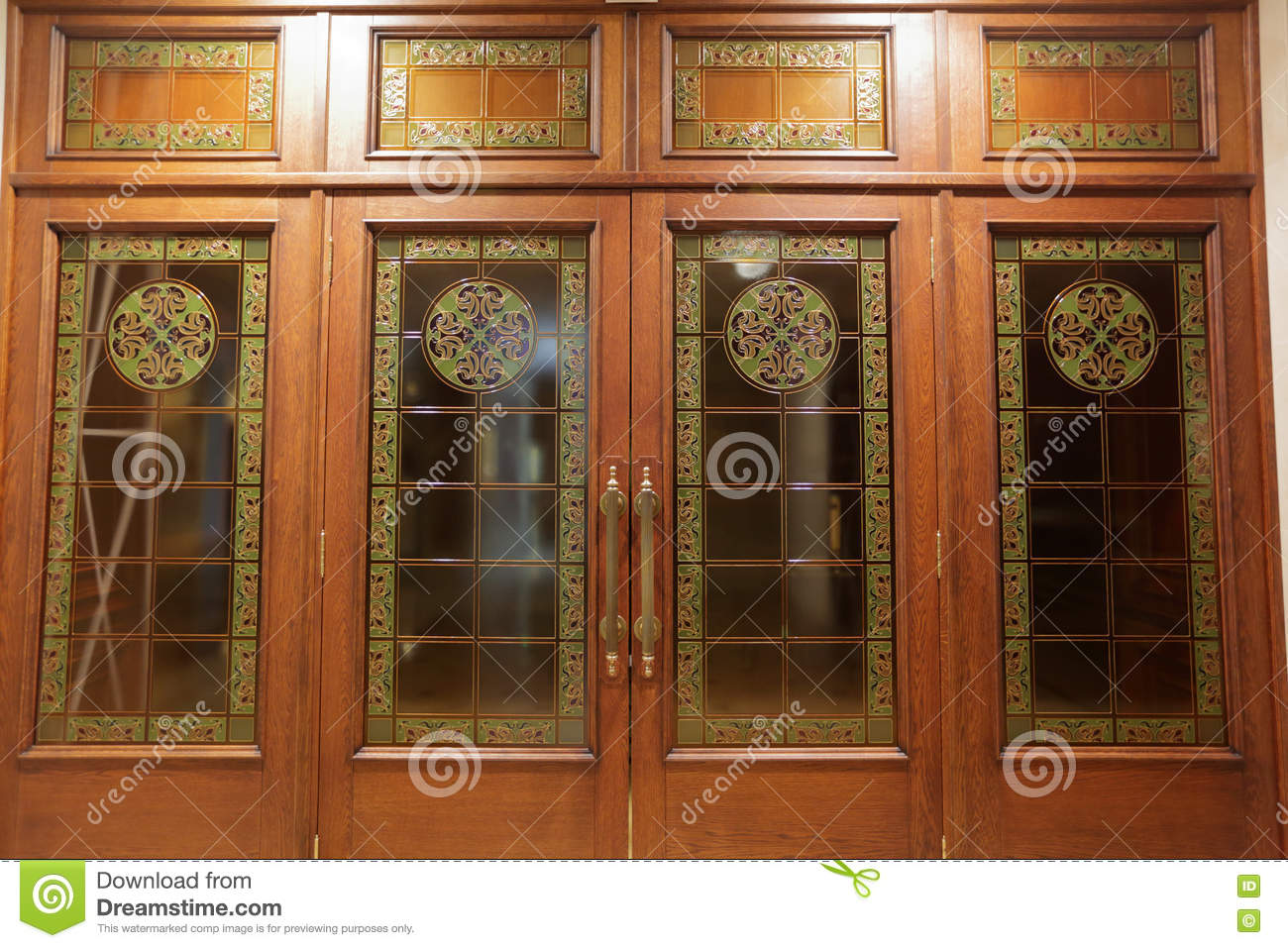 Wooden Doors With Stained Glass Stock Image Image Of Stained