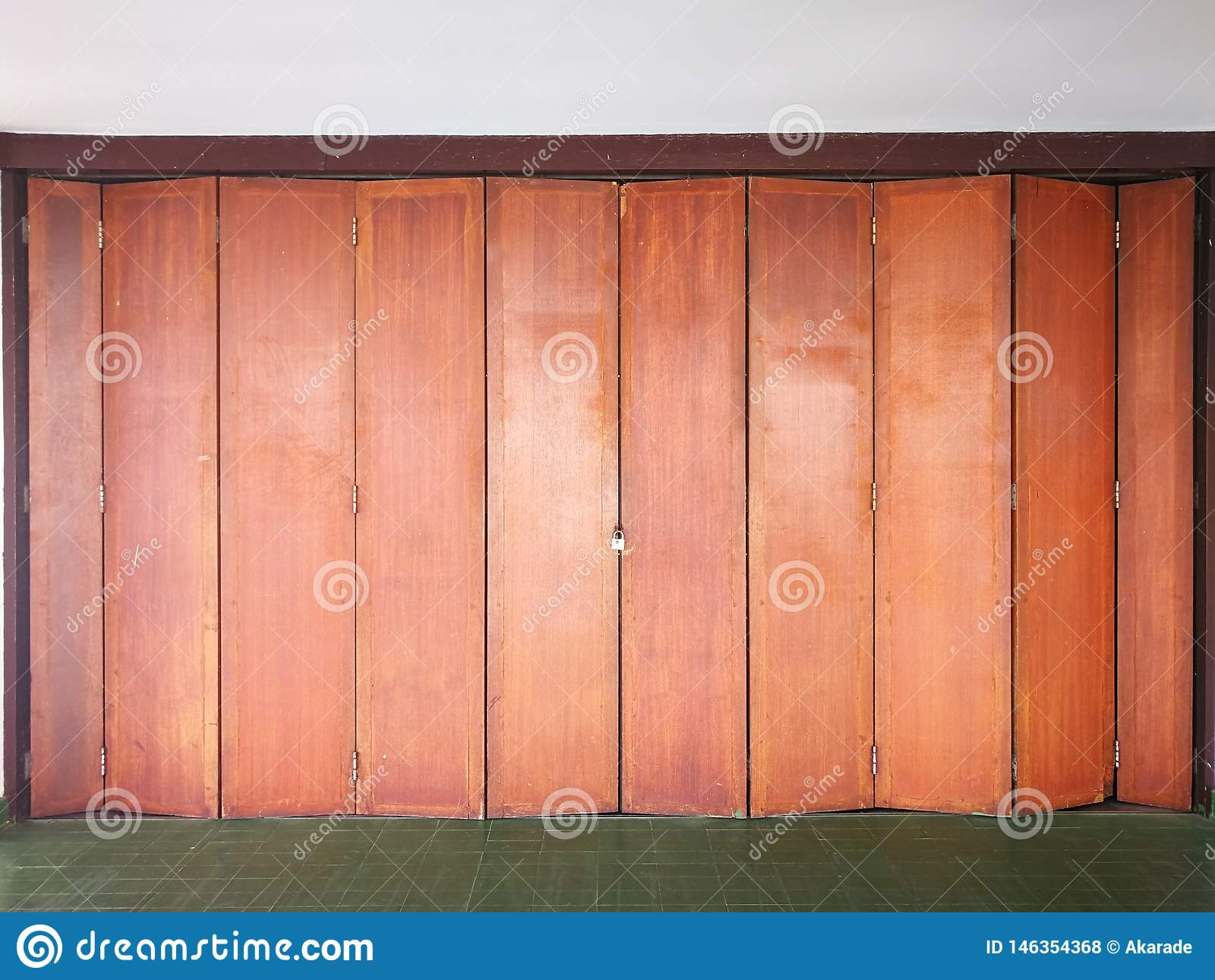 Wooden doors in the closed work