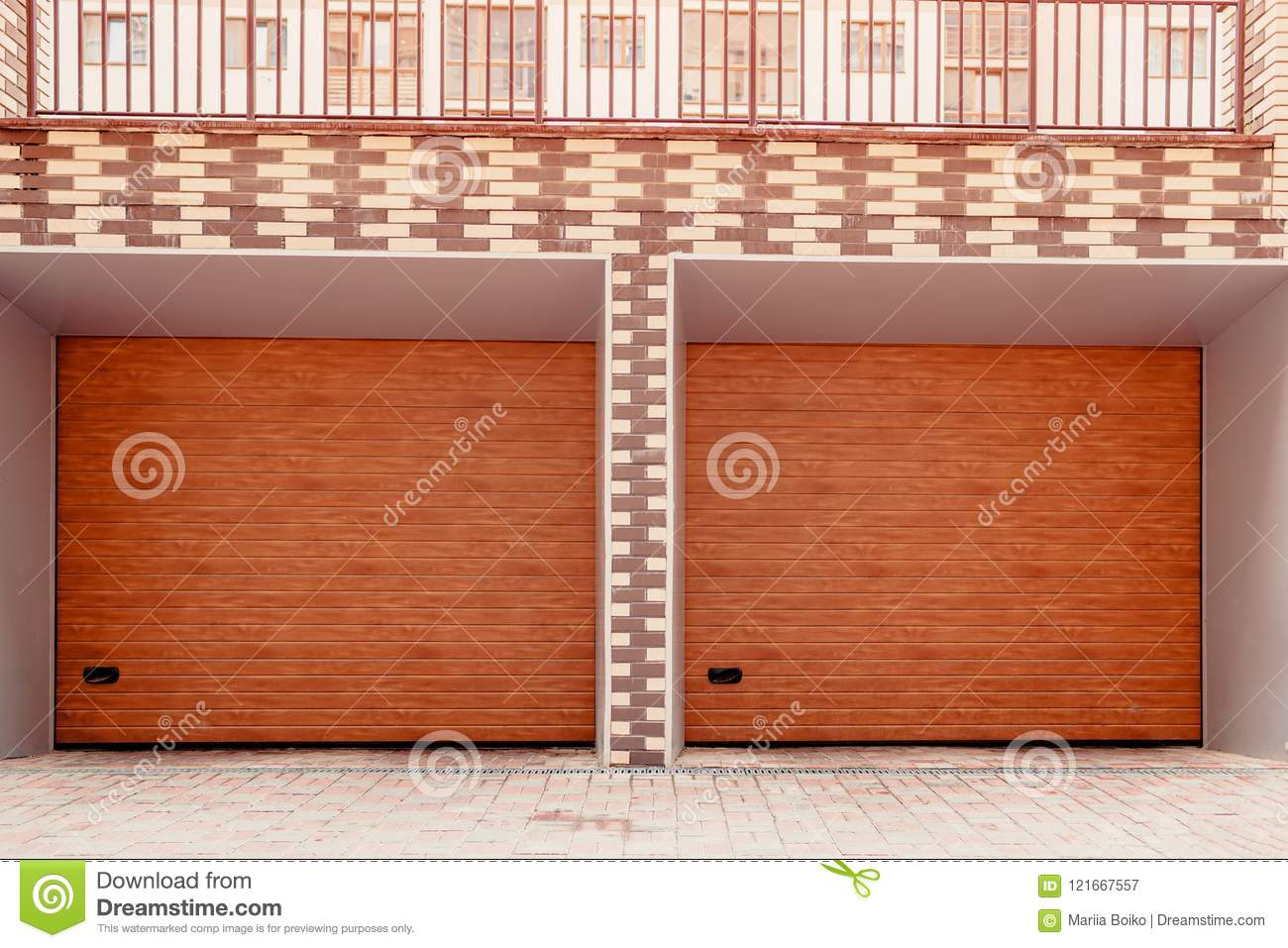 Wooden Double Garage Door Modern Garage In New Building Stock Image