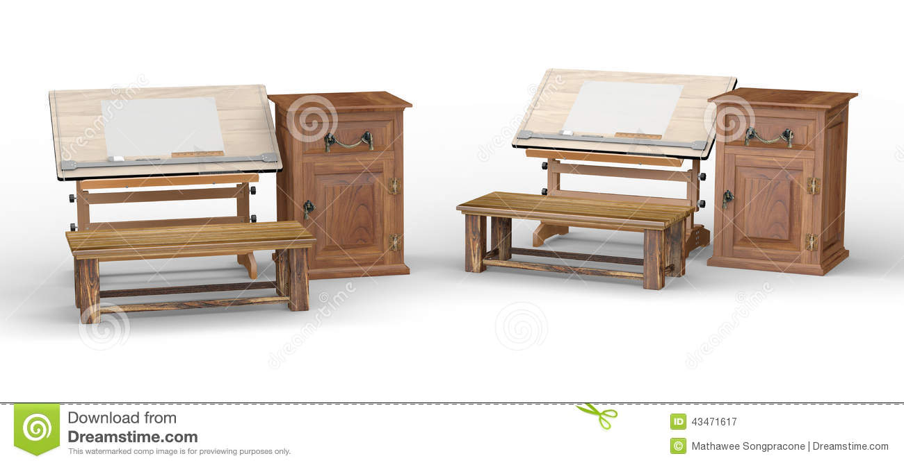 Wooden Drawing Table With Bench And Cabinet , Clipping Path Incl Stock Illustration - Image ...