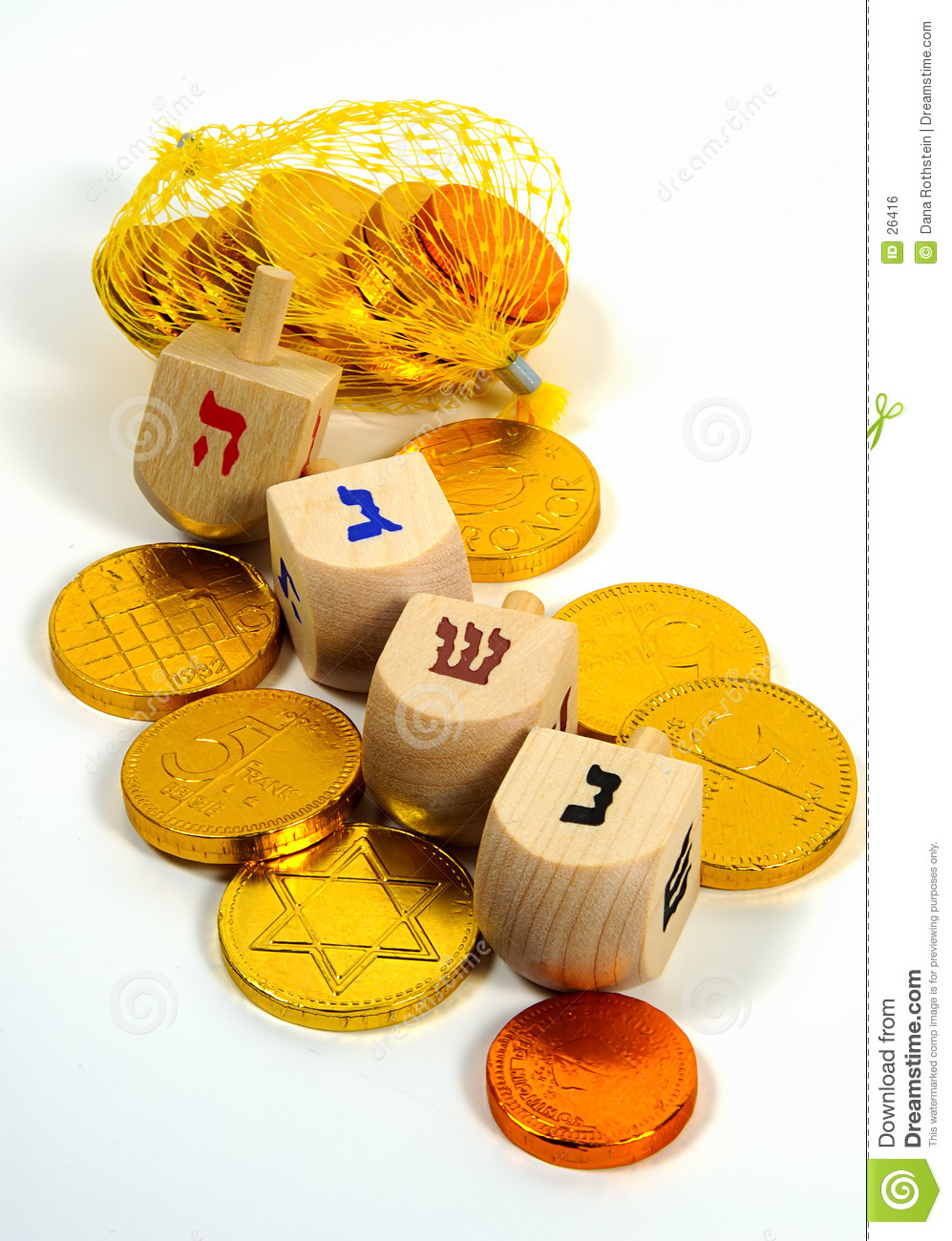 Wooden Dreidels and Gelt