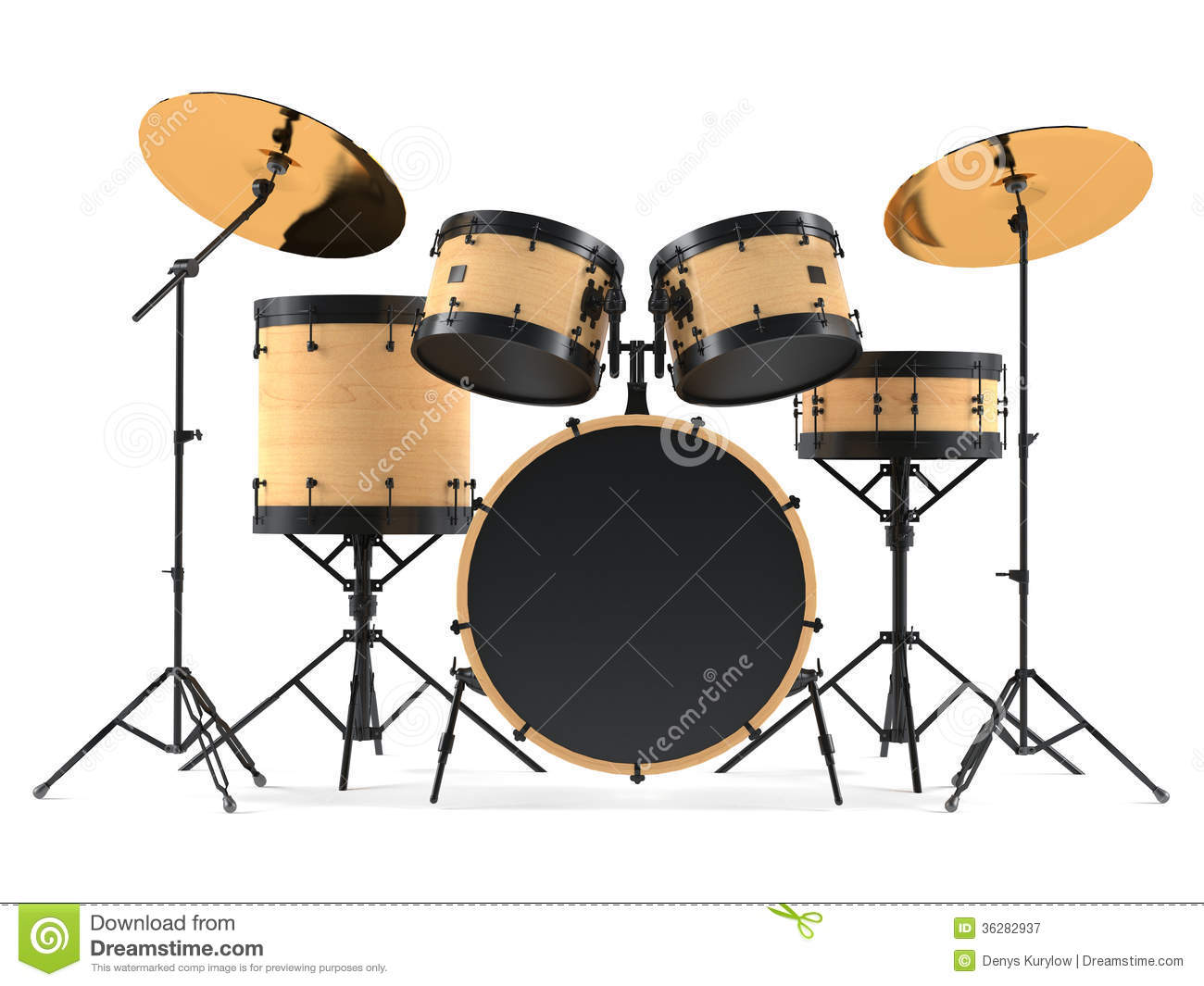 Wooden Drums Isolated  Black Drum Kit  Stock Illustration