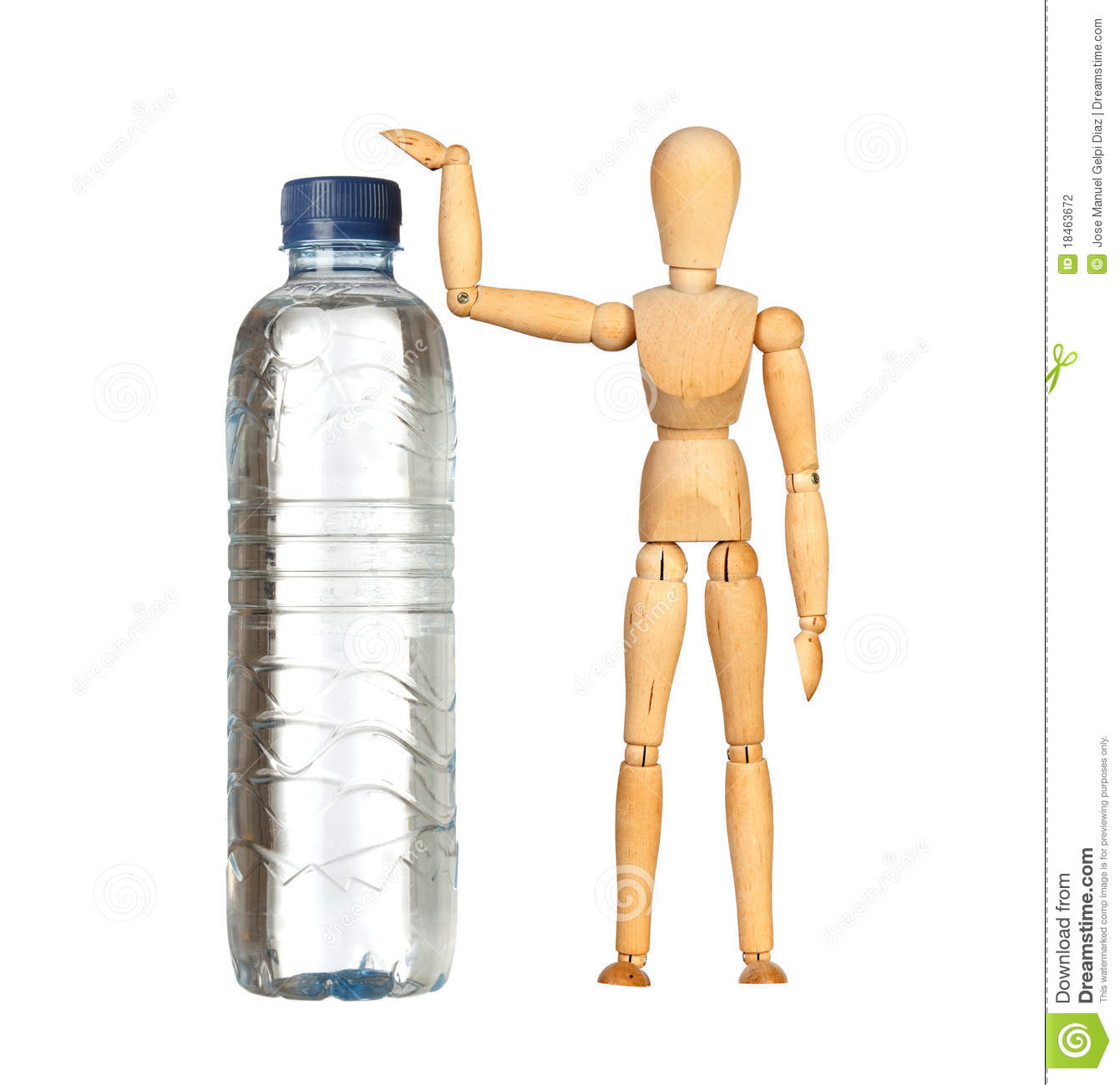 Wooden dummy with a big water bottle