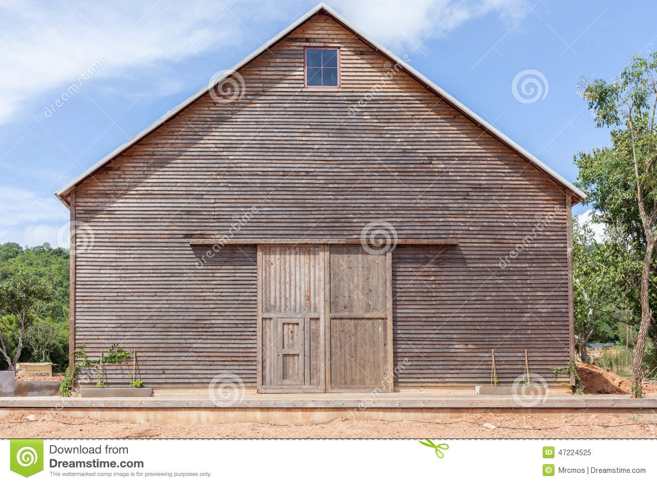 A wooden farm shed wooden barn and blue sky stock photo for Farm shed ideas