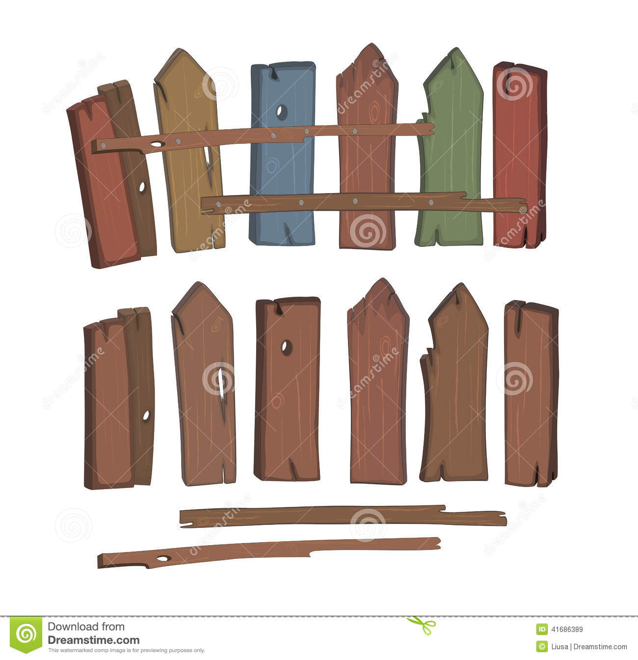 Wooden fence cartoon stock image of hardwood