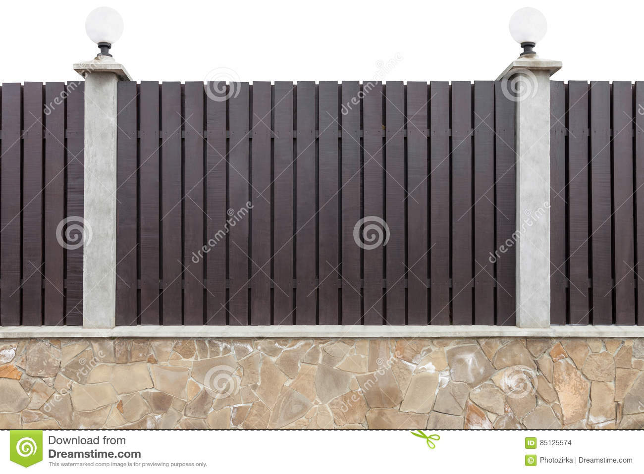 Wooden Fence With Concrete Pillars Stock Photo Image Of
