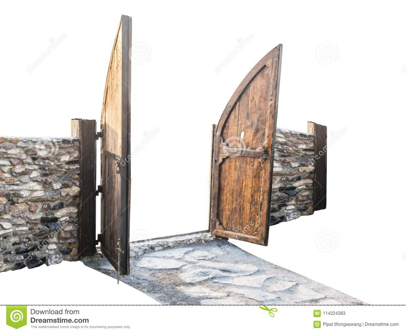 The Wooden Fence Gate Is Open With An Oblique View,isolated On White ...