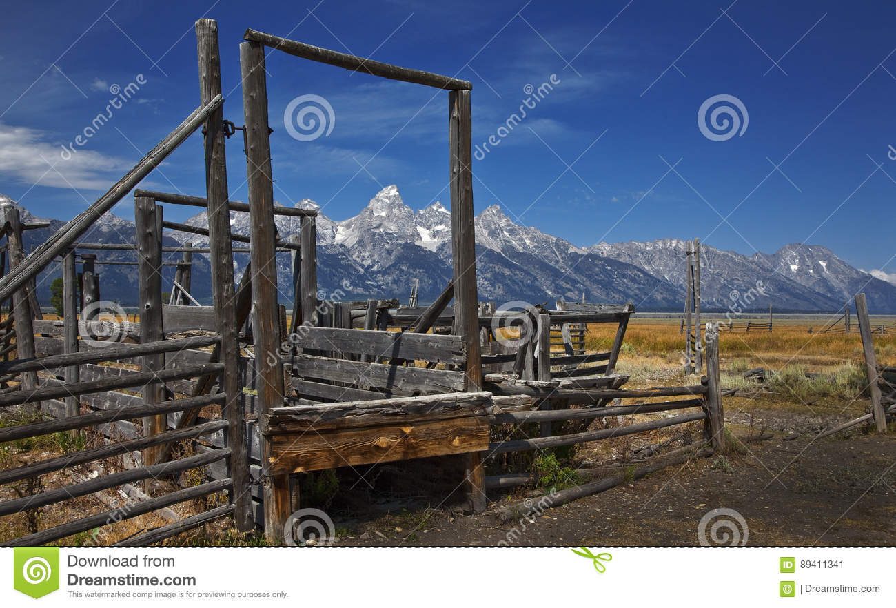 Wooden fence grand tetons national park wyoming stock