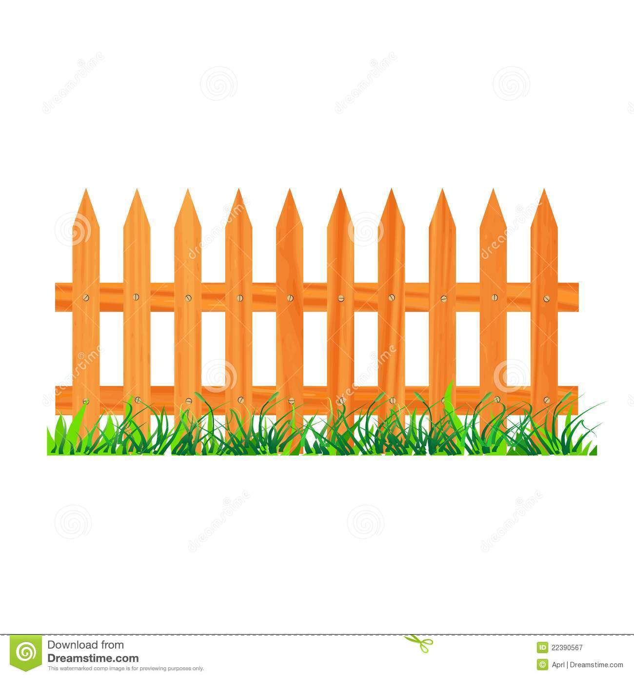 Wooden Fence With Grass Stock Vector Illustration Of Grass 22390567