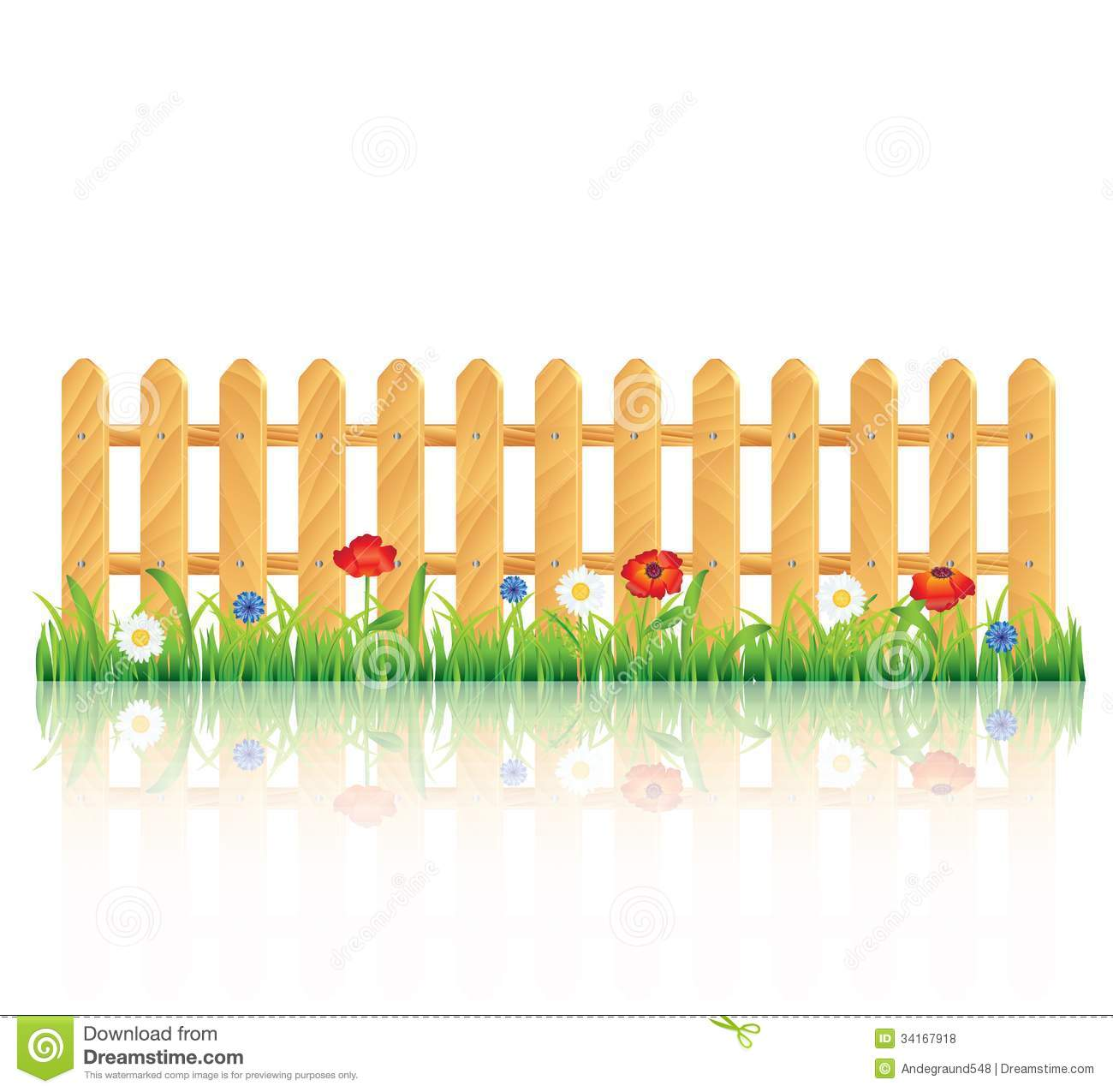 Wooden Fence On Grass With Flowers Royalty Free Stock
