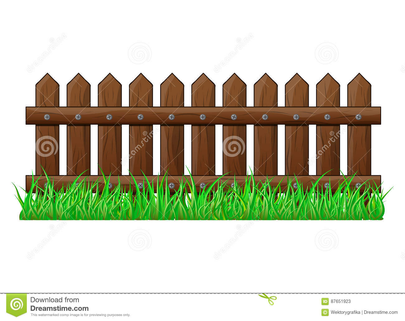 Wooden Fence With Grass Isolated Vector Symbol Icon Design Stock