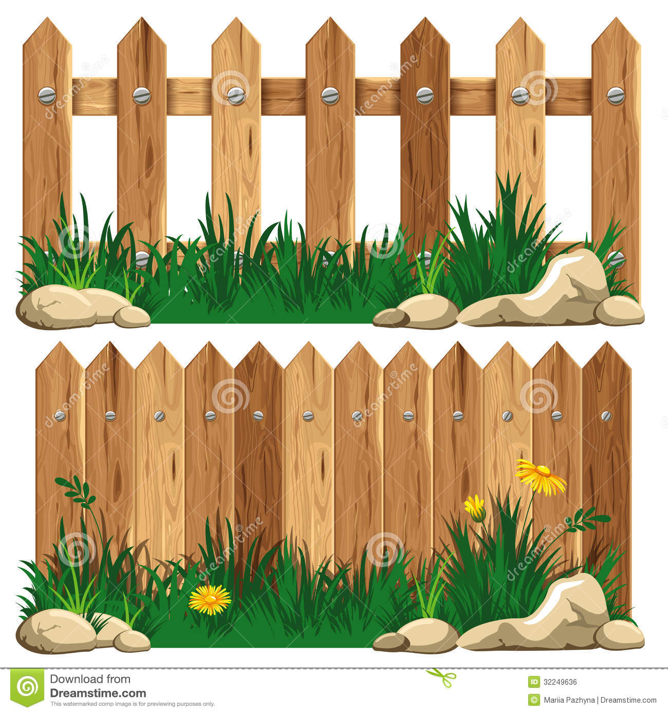 Wooden fence and grass stock vector illustration of