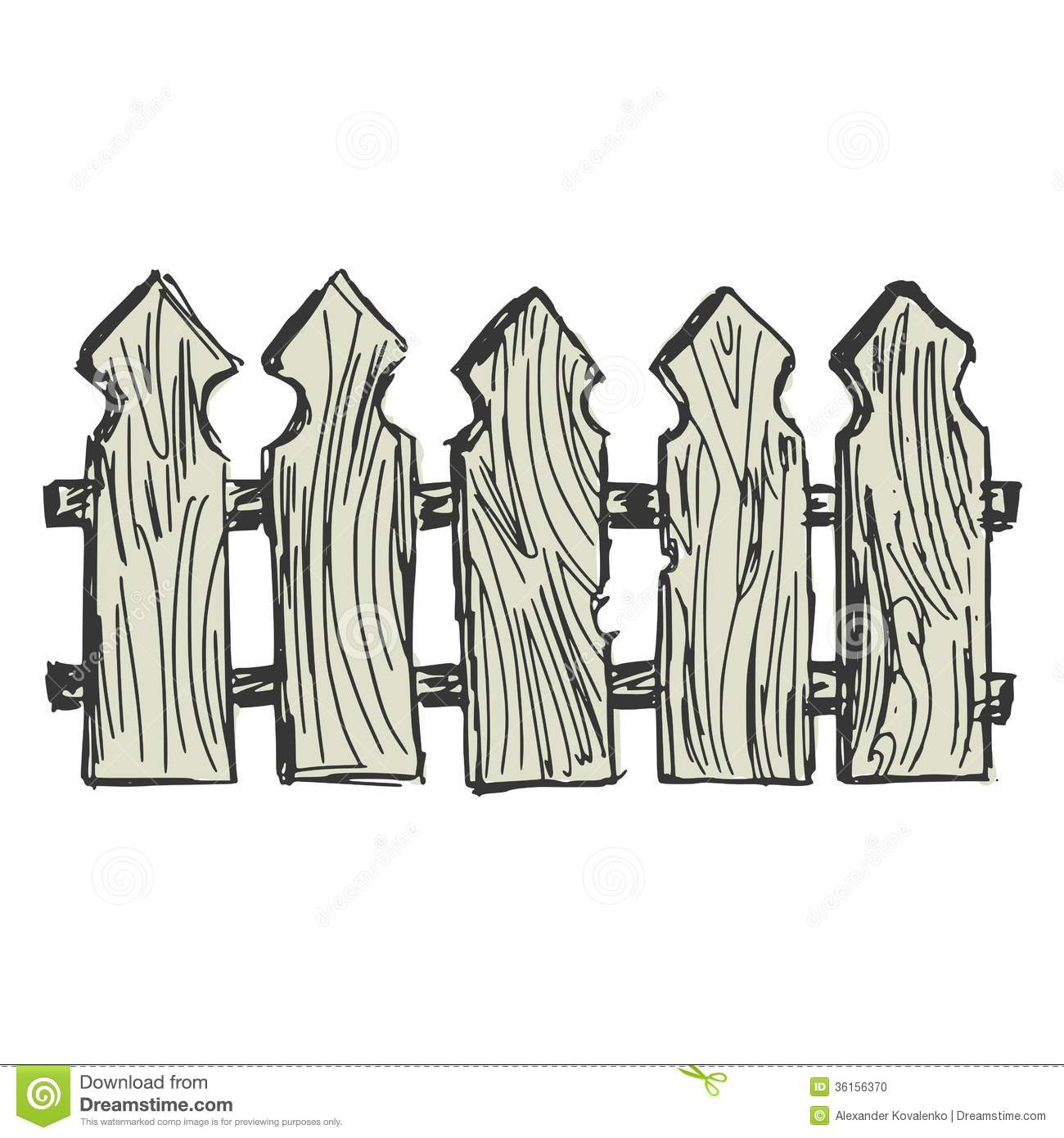 Hand drawn, cartoon, sketch illustration of wooden fence