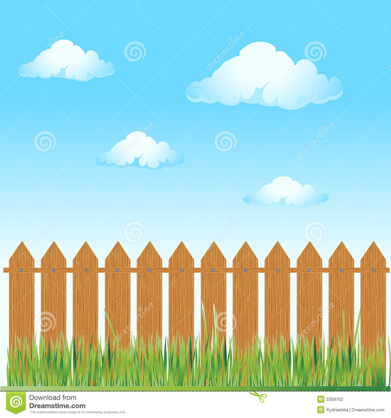 Wooden Fence Summer Grass Stock Vector Illustration Of