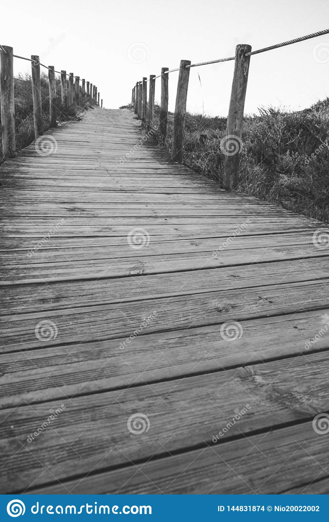 Wooden fence and walkway to beach black and white. Empty path monochrome. Walking concept.