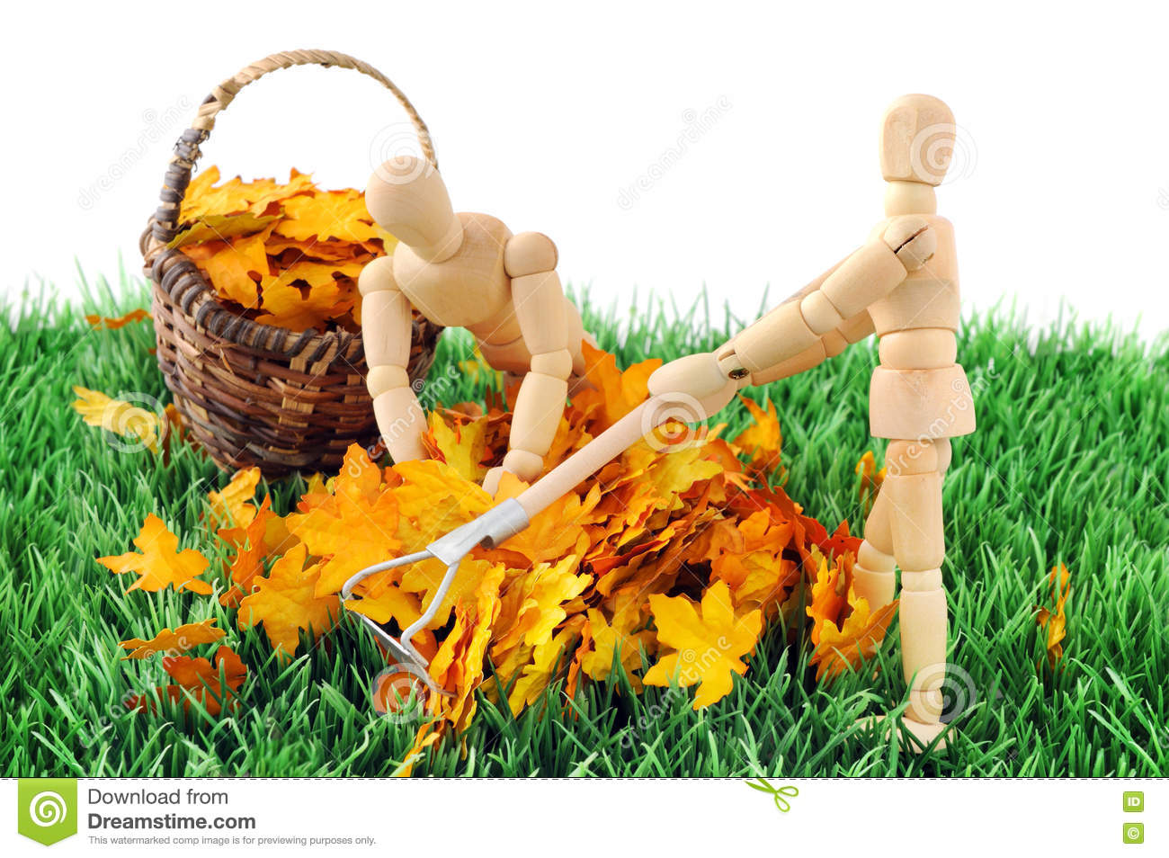 Download Wooden Figure Cleanup The Garden From Autumn Leave Stock Photo - Image of autumn, grass: 73381736