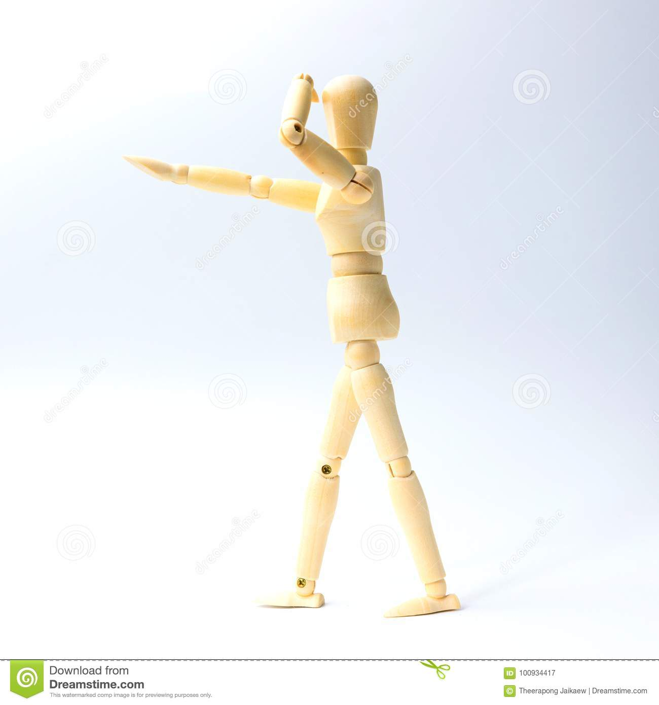 Download Wooden Figure Doll With Looking Emotion For Success Business Con Stock Image - Image of posing, mannequin: 100934417