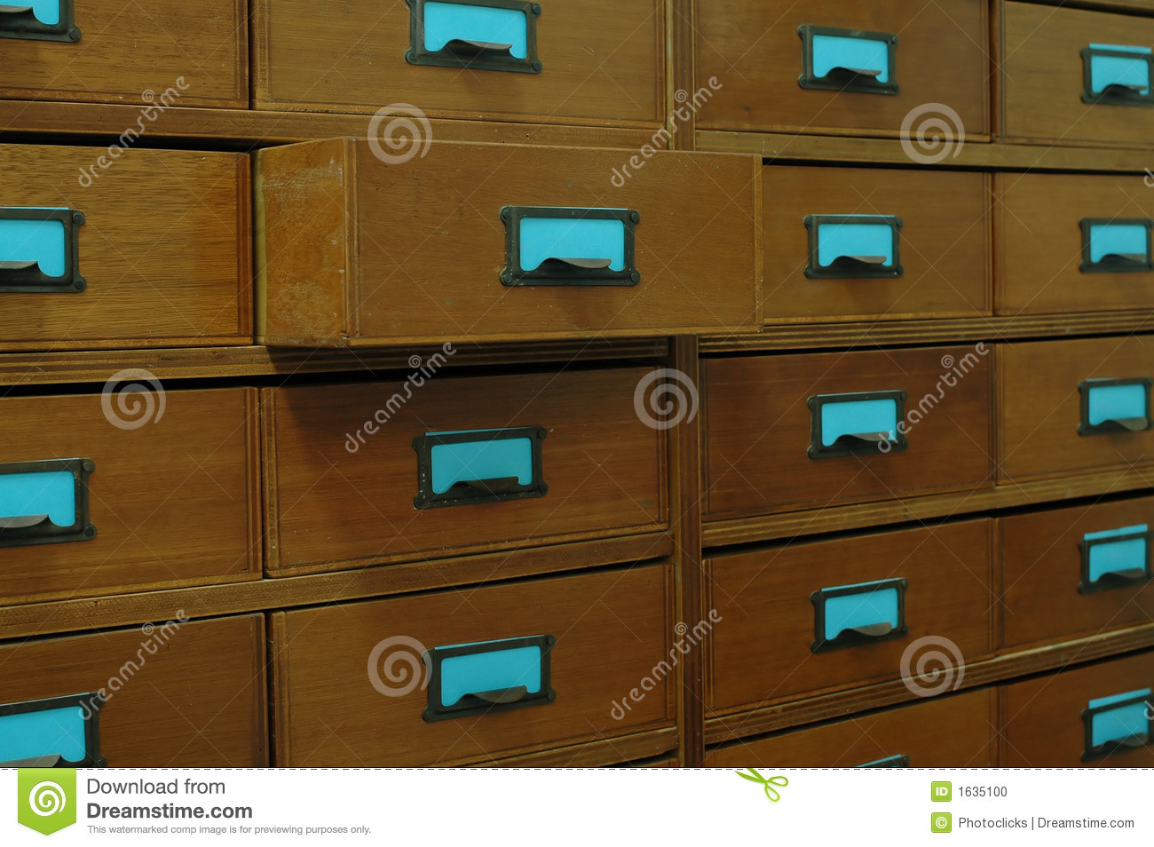 wooden filing cabinet stock photo