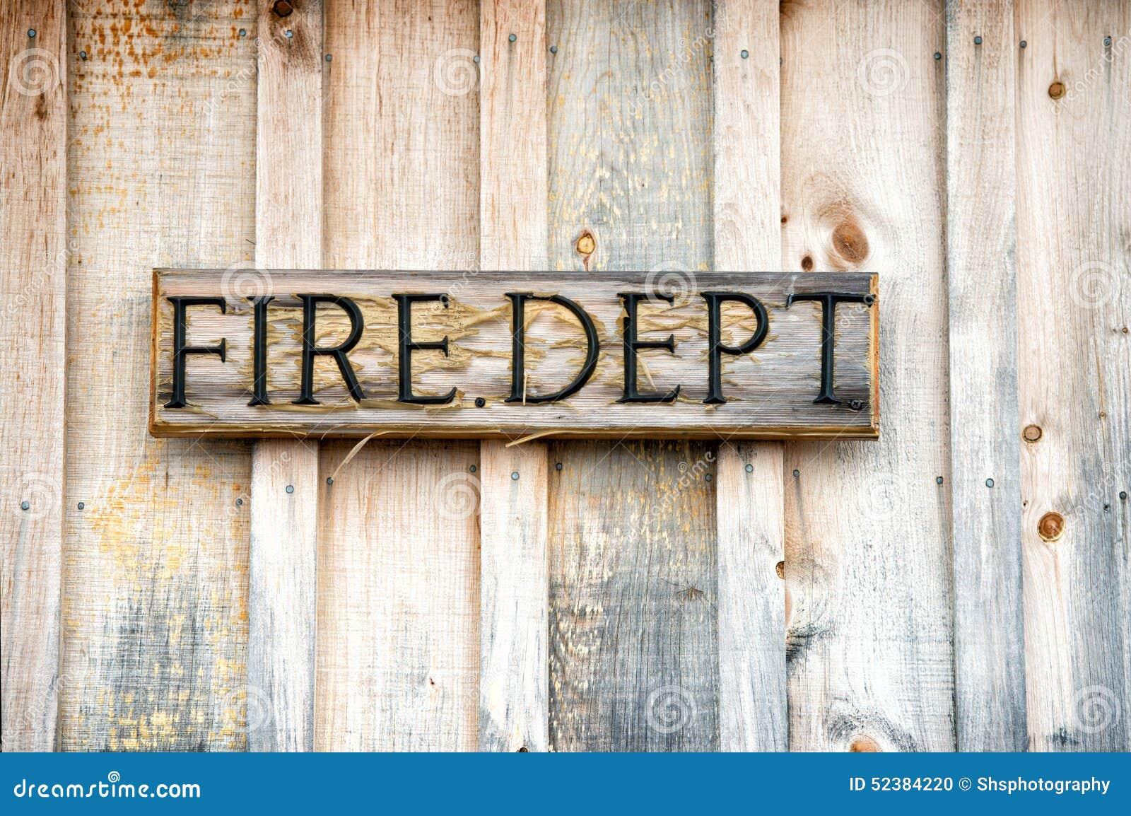Wooden Fire Department Sign