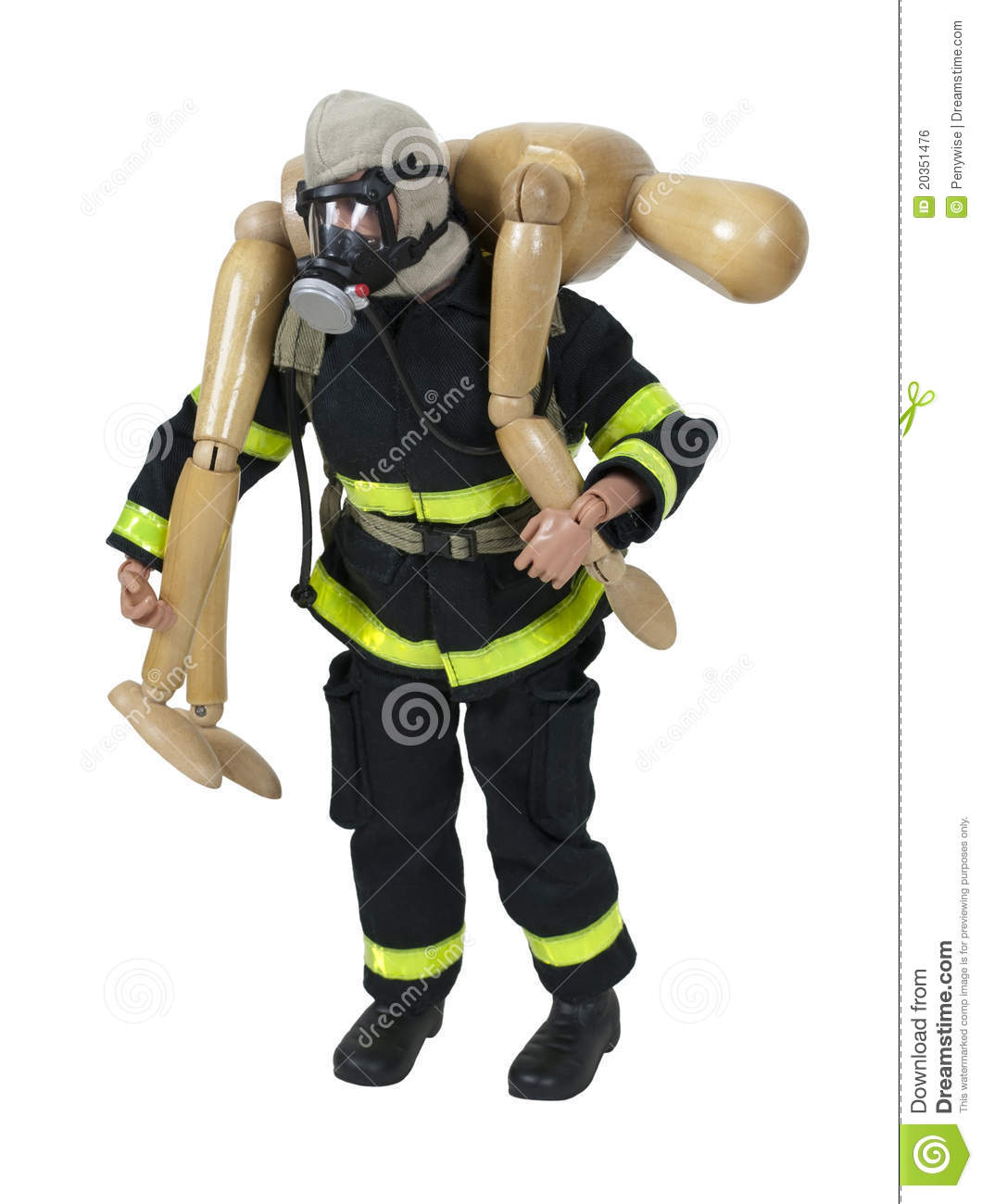 Wooden Fireman Carrying A Person To Safety Royalty Free ...