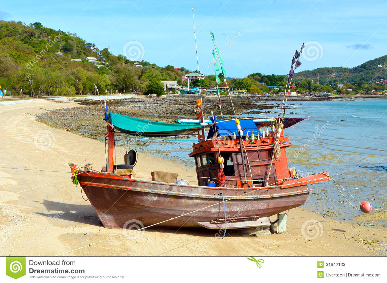 Wooden Fishing Boat On The Beach. Stock Photos - Image: 31642133