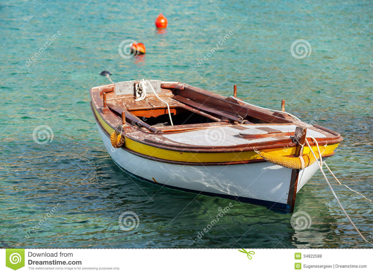 Wooden Fishing Boat Floats In Adriatic Sea Royalty Free Stock Photos ...