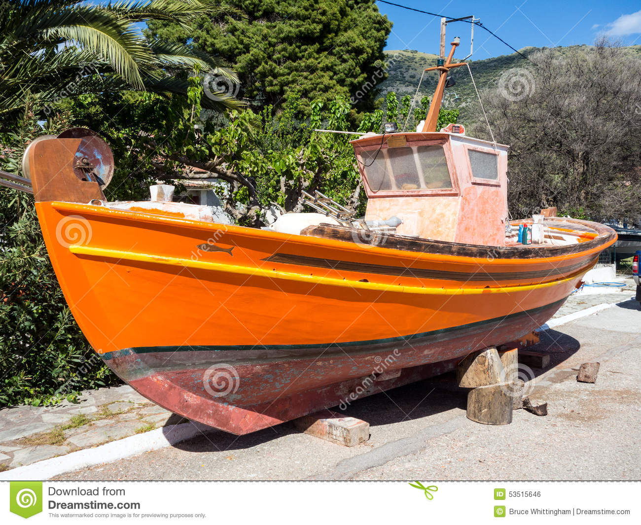 Wooden fishing boat painting stock photo image 53515646 for Fishing boat painting