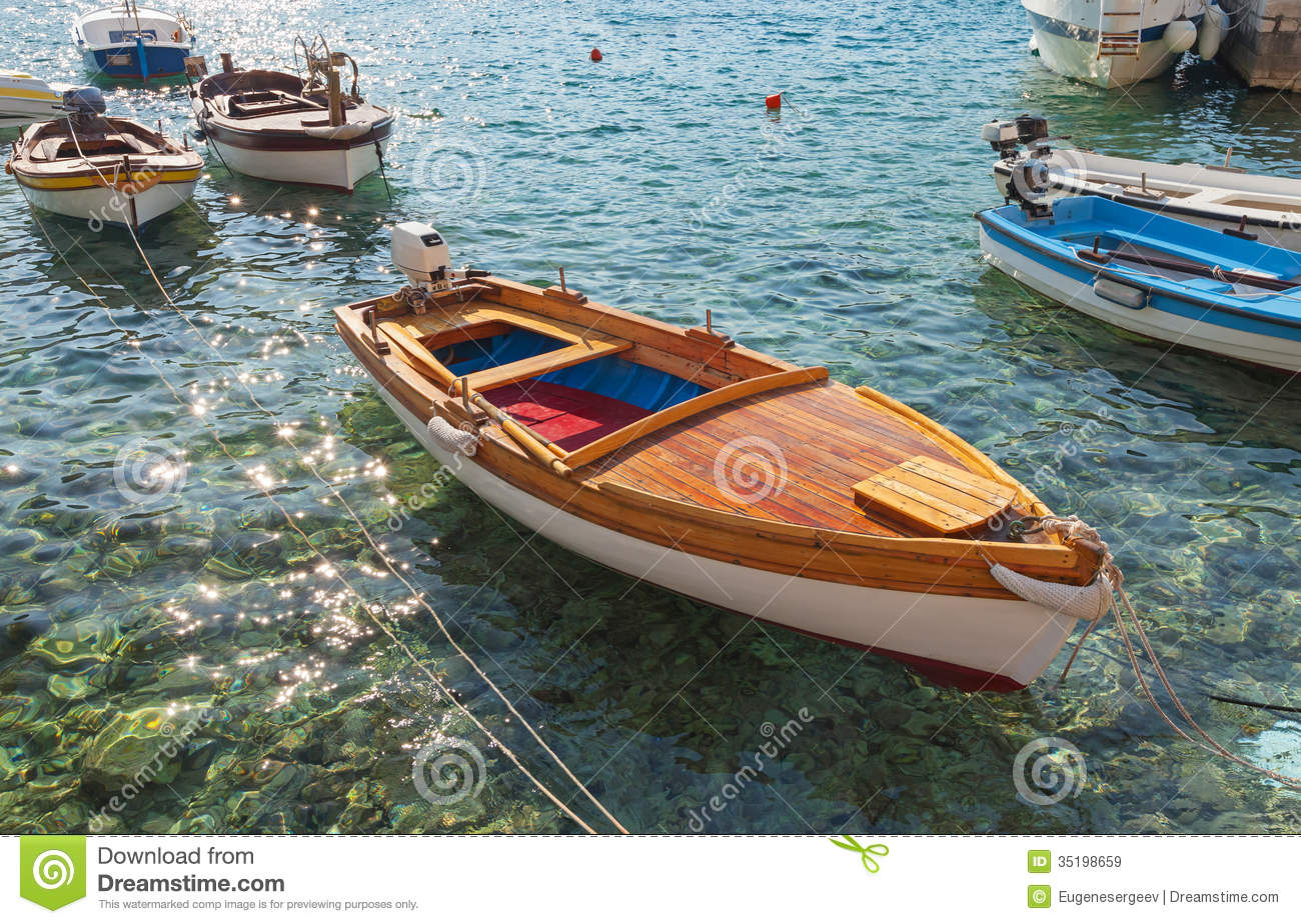 Wooden Fishing Boats Float In Adriatic Sea Stock Image ...