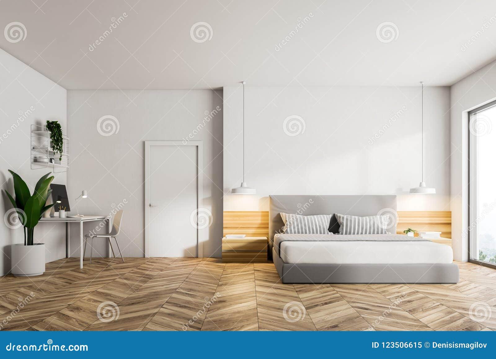 Wooden Floor Bedroom Interior, Front View Stock Illustration