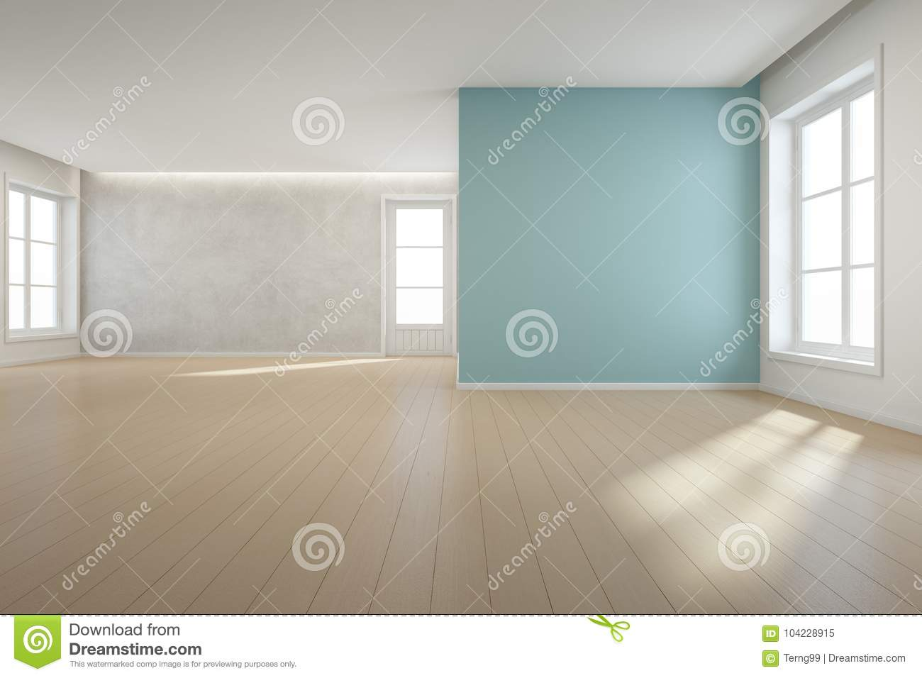 Wooden Floor With Blue Concrete Wall Background In Large Room At ...