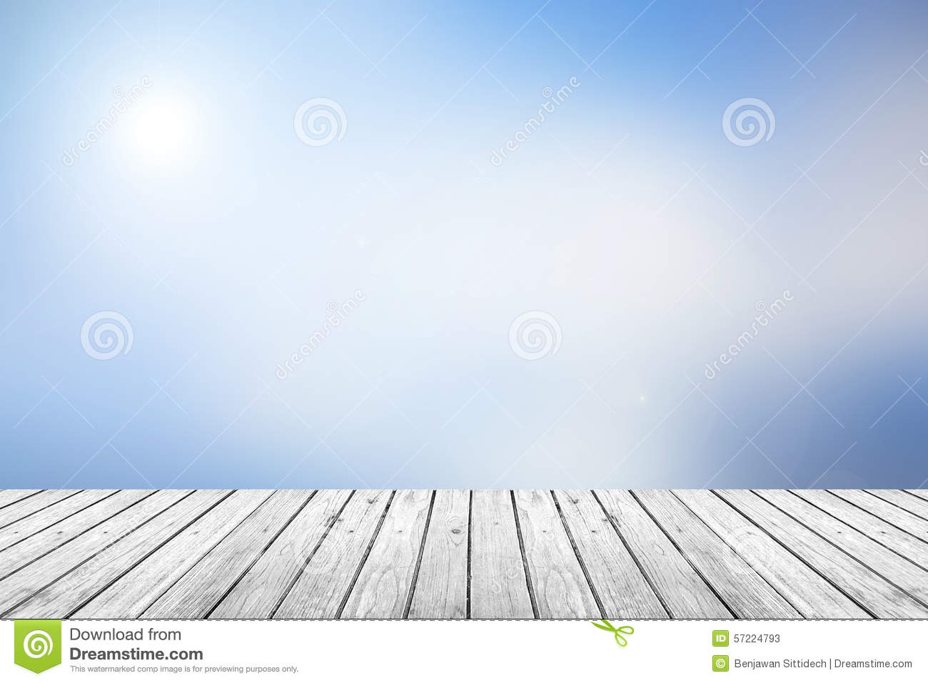 Wooden Floor With Blue Sky Blurred Background Stock Photo