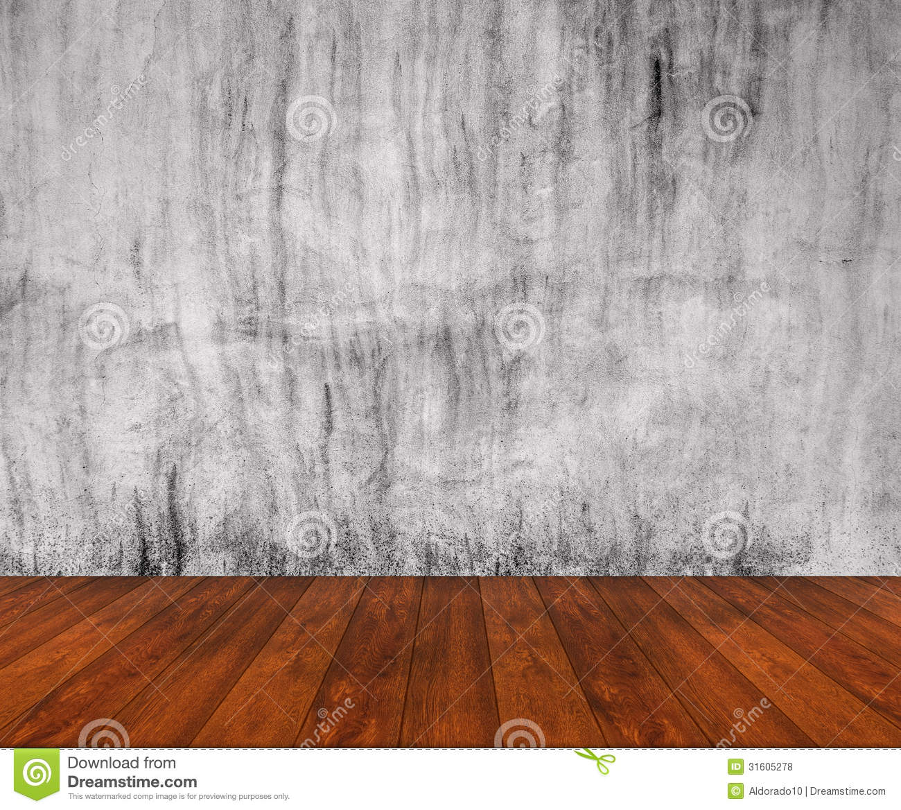 Wooden Floor With Concrete Wall Stock Photo Image 31605278