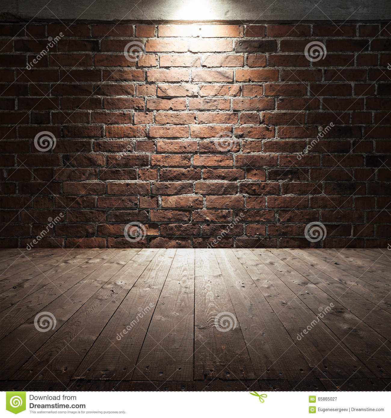 Wooden Floor And Red Brick Wall With Spot Light Stock