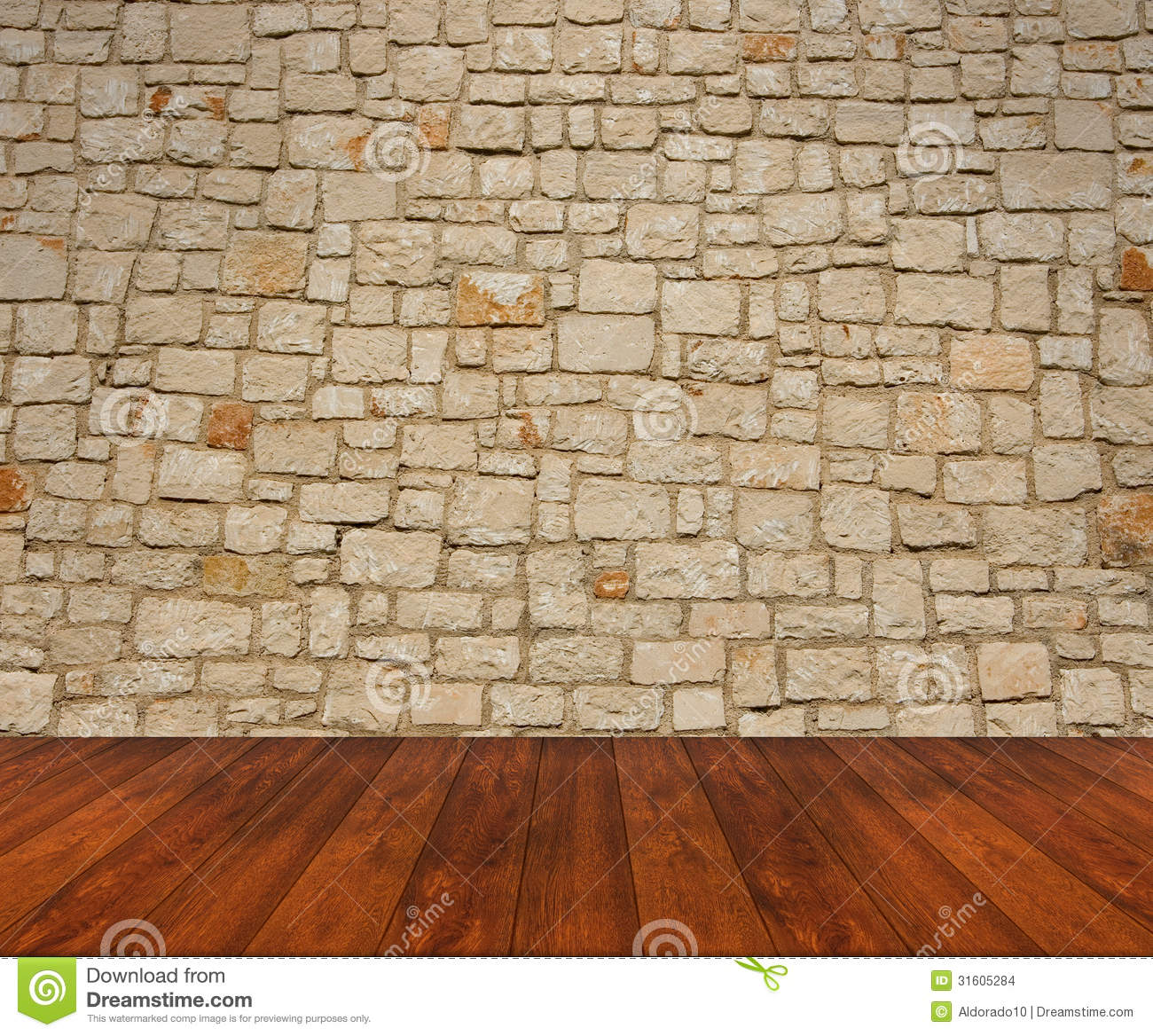 Wooden Floor With Stone Wall Stock Images Image 31605284