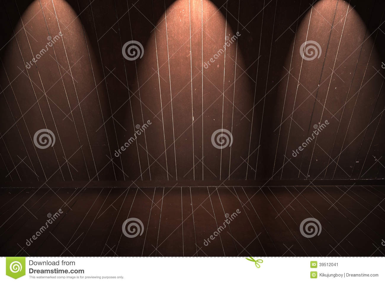 Wooden floor and wall with light