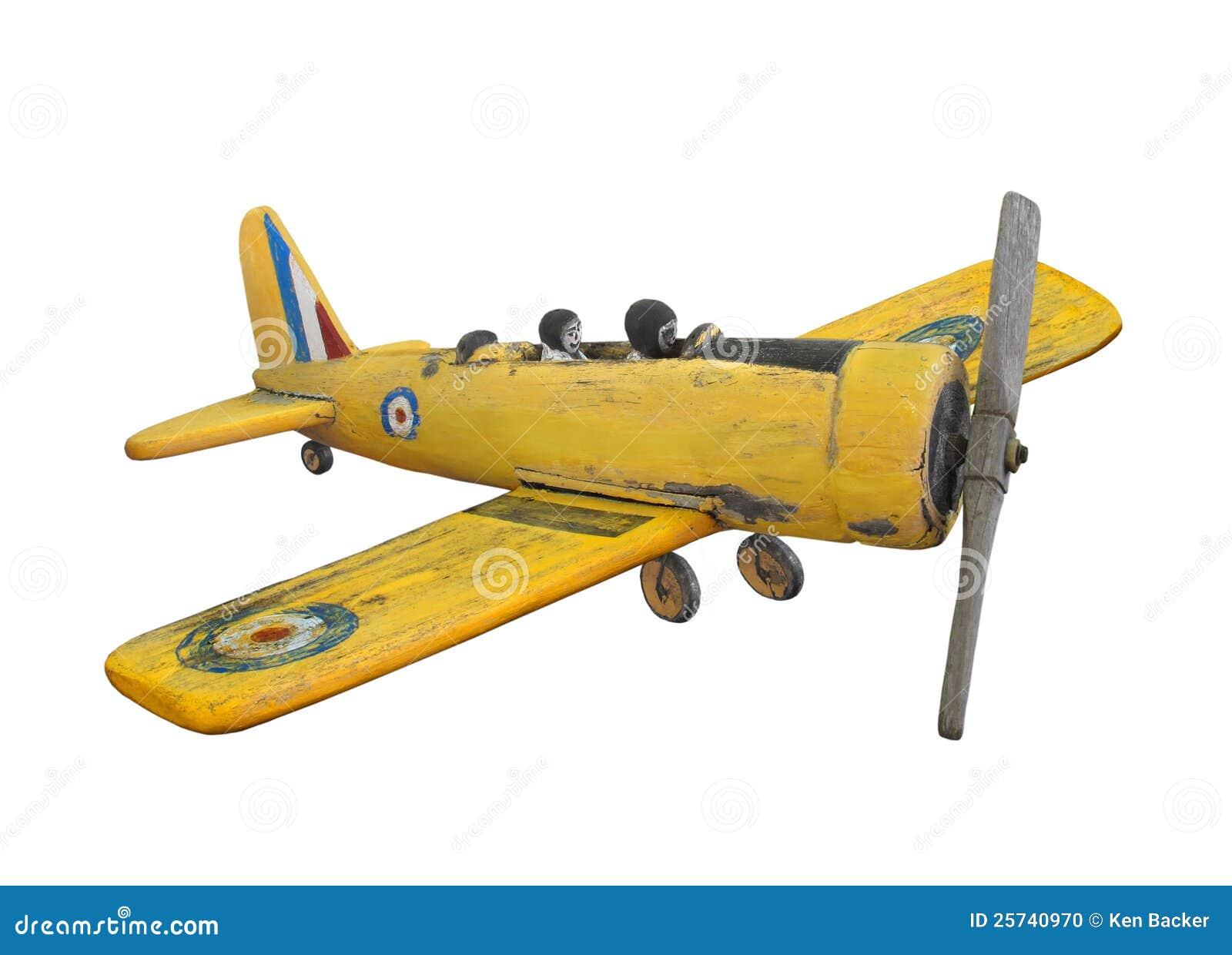 Wooden Folk Art Airplane Toy Isolated. Stock Photo - Image ...