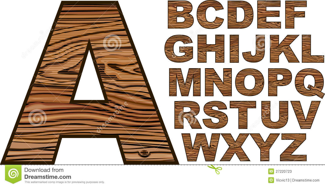 Wooden Font Stock Vector Illustration Of Retro Carved