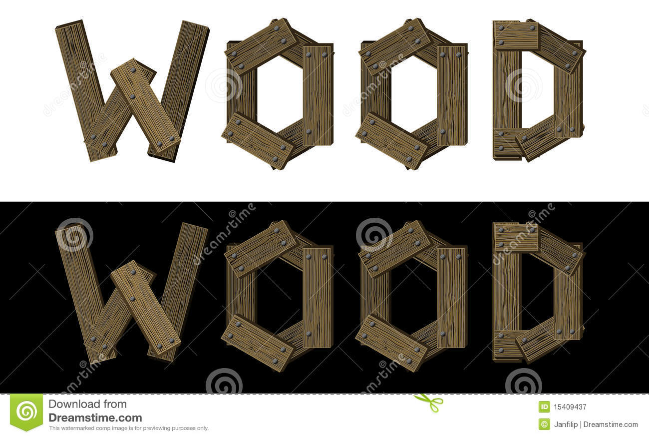 Royalty Free Stock Photography: Wooden font, word wood. Image ...