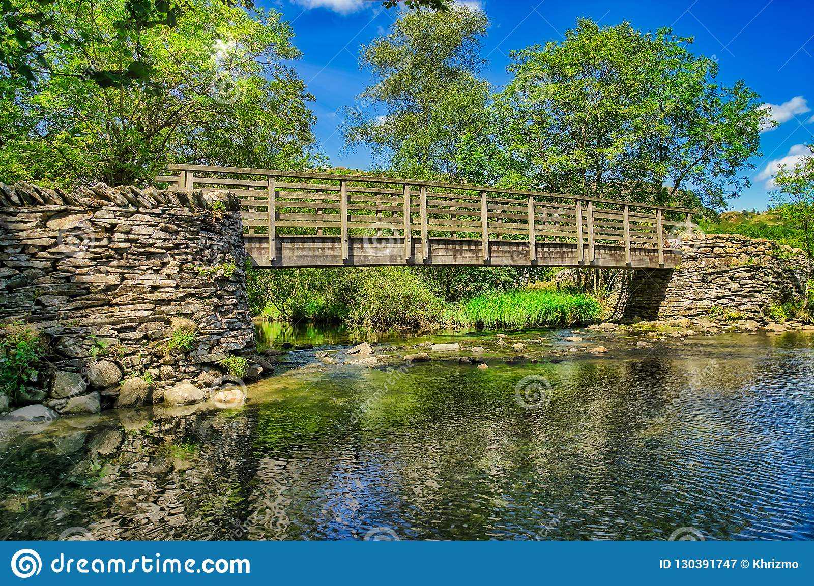 a wooden footbridge crossing a river in the english lake district
