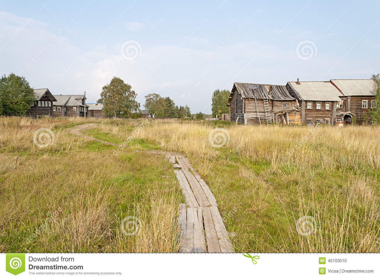 Wooden footpath in northern Russian village